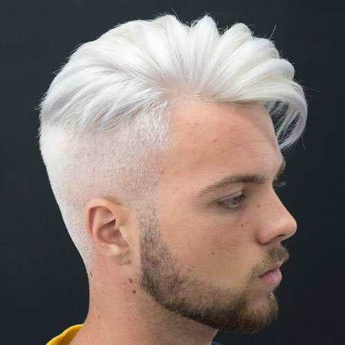 Long Comb Over + High Fade + White Hair