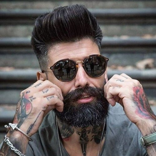 Long Pompadour + High Fade + Beard
