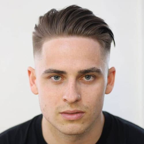 Low Fade + Line Up + Textured Combed Back Hair