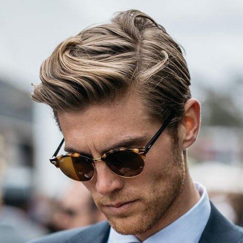 Medium Length Comb Over + Tapered Sides