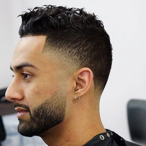 Mid Drop Fade + Edge Up + Messy Wavy Top
