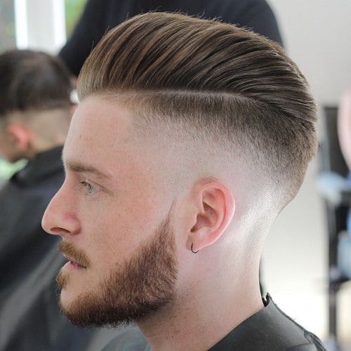 Pompadour Comb Over + High Bald Fade + Thick Beard