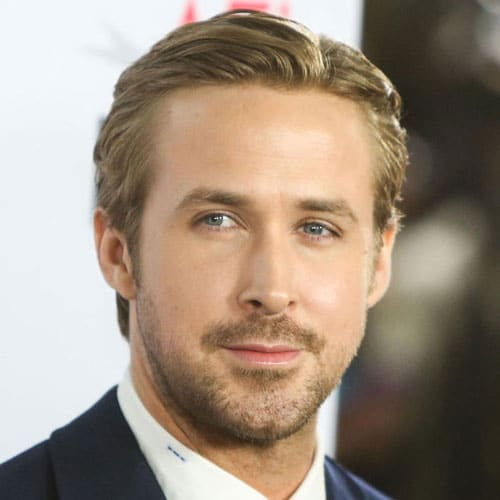 Ryan Gosling Hairstyle - Long Tapered Sides + Parted Top