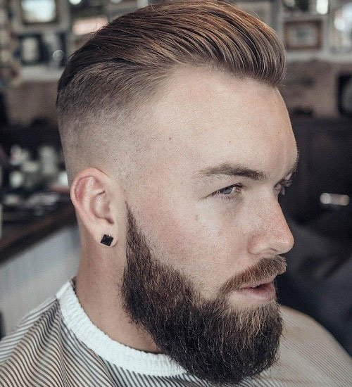 Delightful Slicked Back Fade + Thick Beard