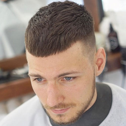 To get the French Crop haircut, the faded sides are naturally trimmed with a hair clipper while the cropped top is cut with scissors.