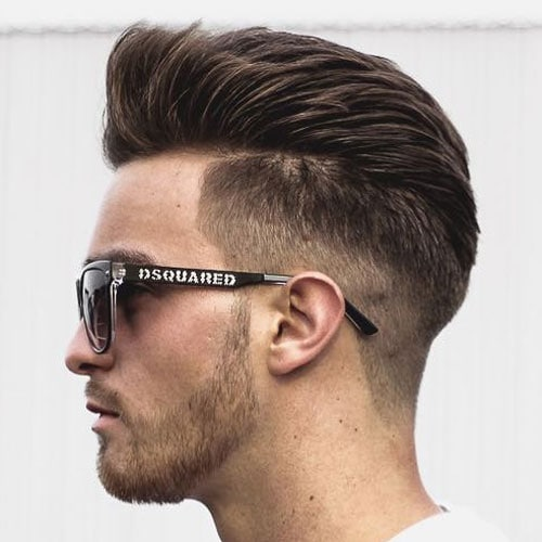 Thick Brushed Back Hair + Low Taper Fade