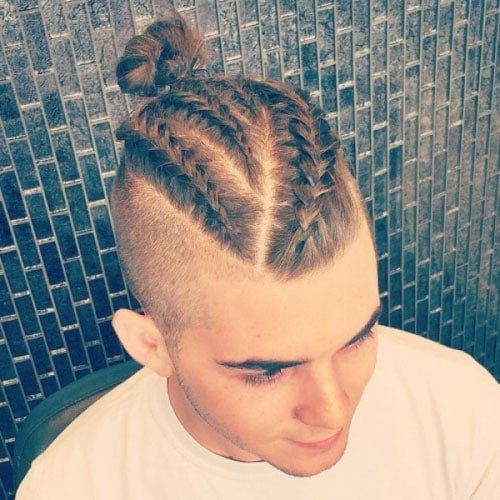 Braided Top Knot For Men + Shaved Sides