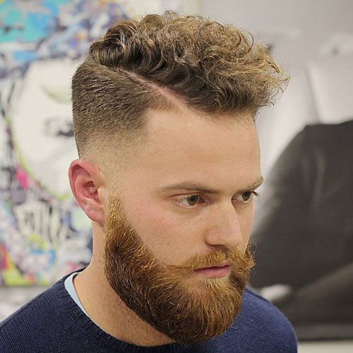 Curly Comb Over Fade + Hard Part + Thick Beard