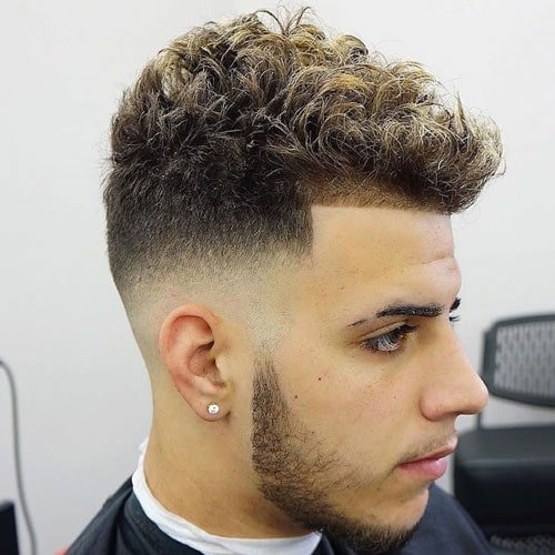 High Bald Fade + Line Up + Short Curly Hair
