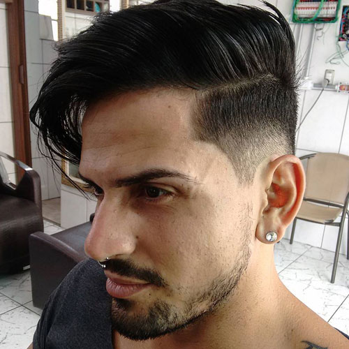 Long Hair Comb Over Fade