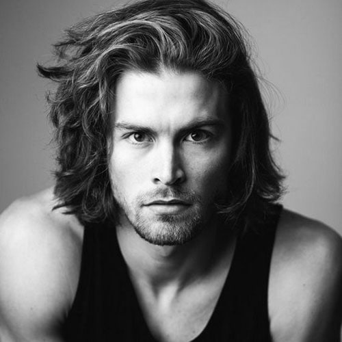 Men's Long Side Swept Hair