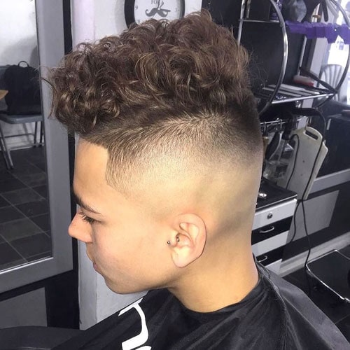 Shaved Sides + Line Up + Curly Hair