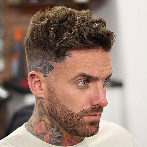 Short Curly Hair + High Skin Fade + Thick Beard