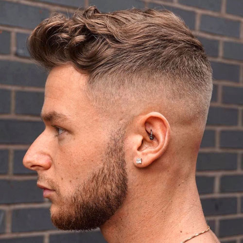 Short Textured Curls + High Fade + Beard