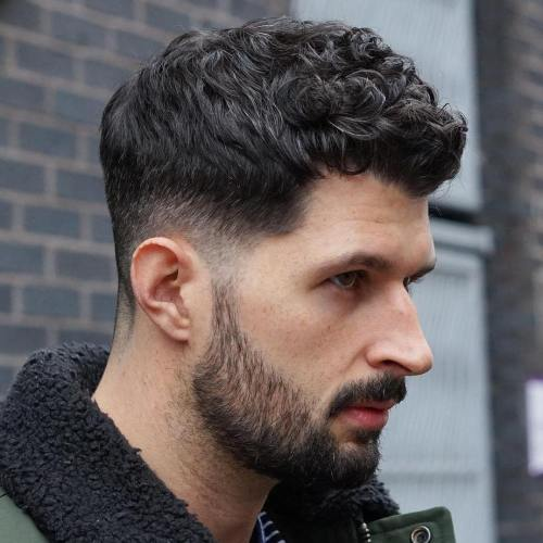 Short Wavy Fringe + Low Taper Fade + Beard