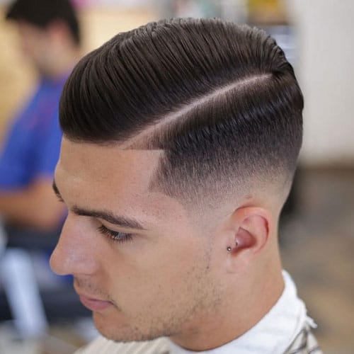 Side Part Comb Over Fade