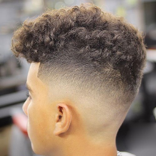 Thick Curly Top + Skin Fade + Edge Up