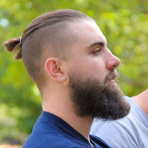 Top Knot + Shaved Sides + Long Beard