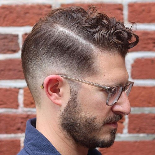 Curly Hair Men Comb Over Fade