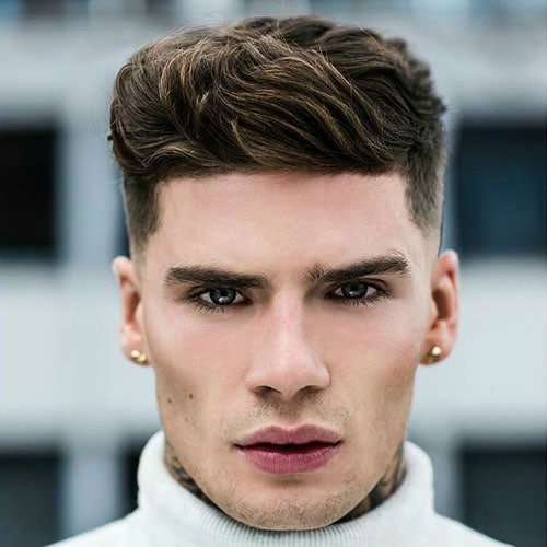 Hairstyles for Triangular Faces - Low Fade + Thick Textured Quiff