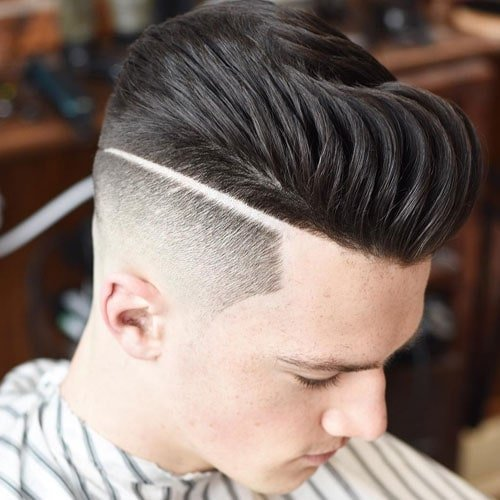 High Fade + Part + Textured Pompadour