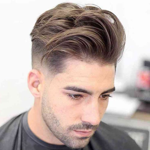 Messy Textured Quiff + Low Fade