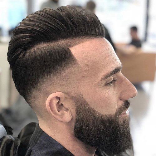 Side Part Pompadour + Razor Fade + Line Up