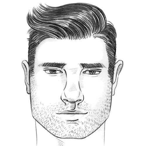 To make the most of your square face, ensure that your sideburns are kept  short and your hair faded high. A high skin fade or undercut will avoid  thickening