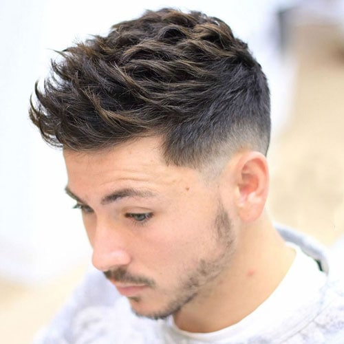 Textured Spiky Hair + Low Fade