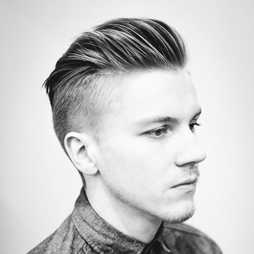 Thick Men's Haircuts - Slicked Back Undercut
