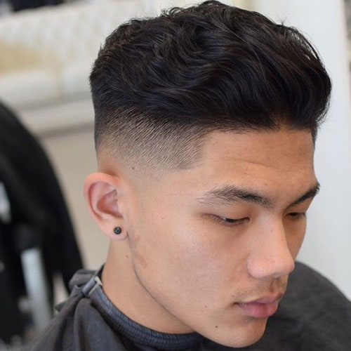 Thick Wavy Blow Back + High Fade