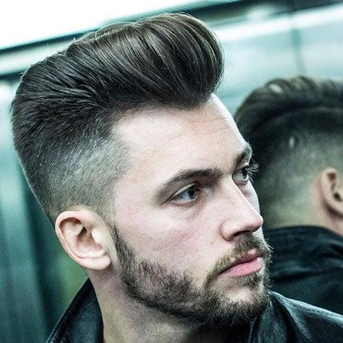 Taper Fade + Classic Pompadour + Beard