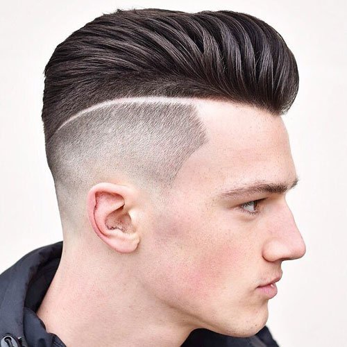 Textured Modern Pompadour + High Bald Fade + Part