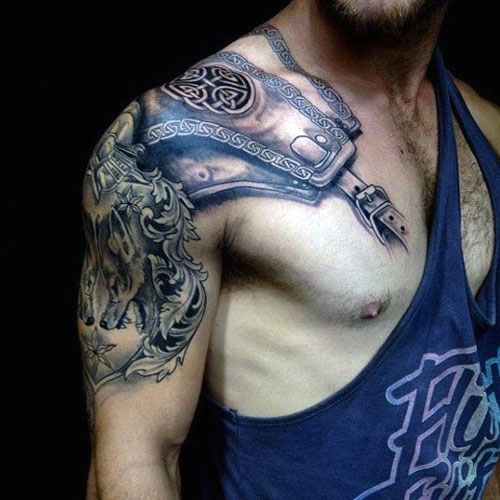 Amazing Shoulder Armor Tattoo