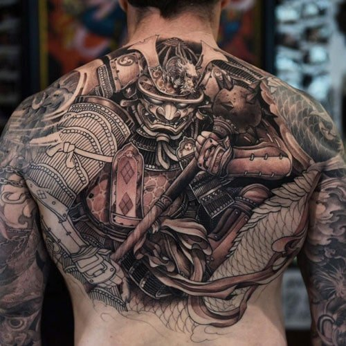 Awesome Samurai Warrior Back Tattoo Designs