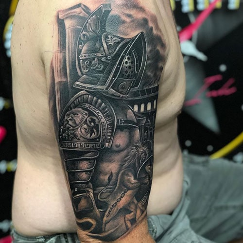 Awesome Tattoo of Warrior on Arm