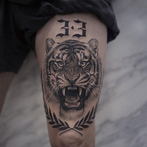 Awesome Tiger Thigh Tattoo For Men