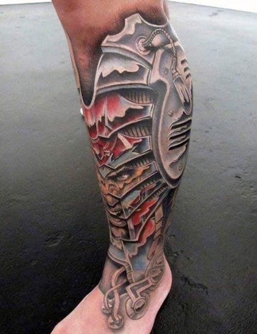 Badass Armor Leg Tattoo