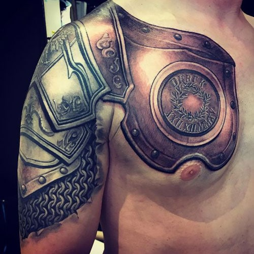 Badass Armor Shoulder Tattoo