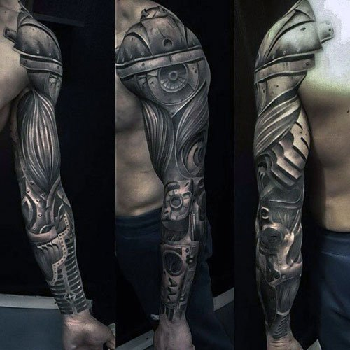 Badass Biomechanical Full Sleeve Tattoos