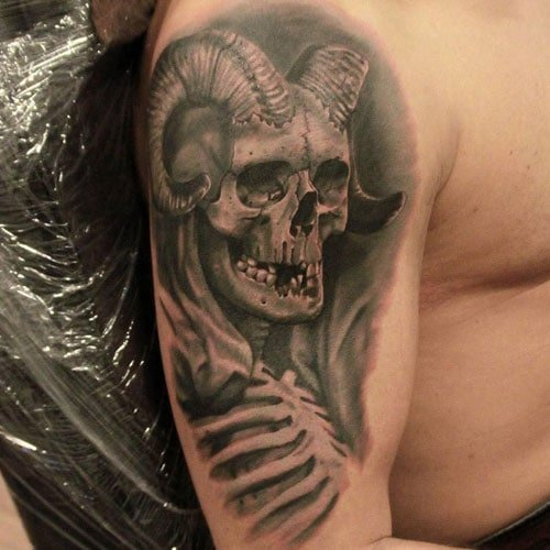 Badass Demon Skull Upper Arm Tattoo