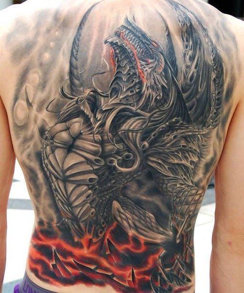 Badass Dragon Back Tattoos