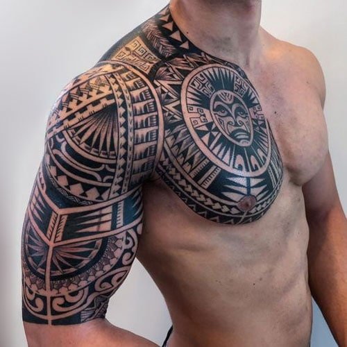 Badass Tribal Arm Shoulder Chest Tattoo