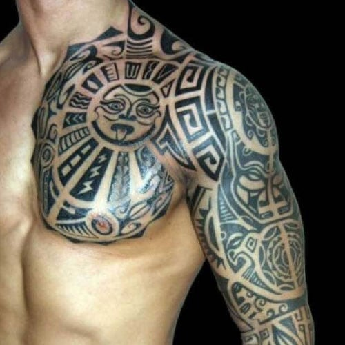 Badass Tribal Arm and Chest Tattoo