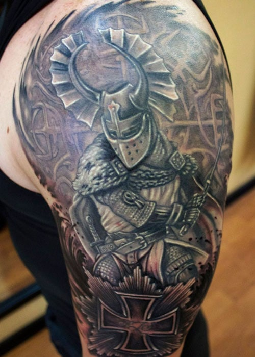 Badass Warrior Shoulder Tattoos