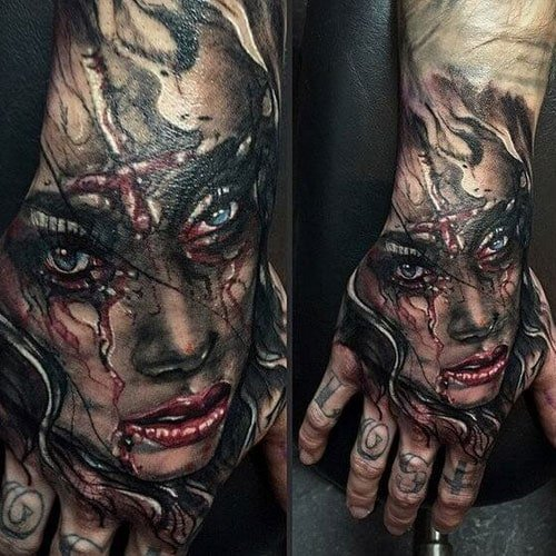 Beautiful Girl Hand Tattoos For Guys
