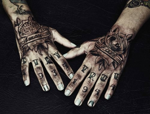 Black and Grey Hand Tattoos