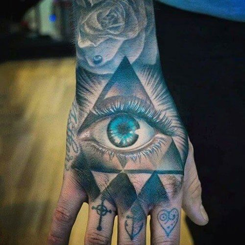 Colorful Hand Tattoo with Eye, Rose and Pyramid