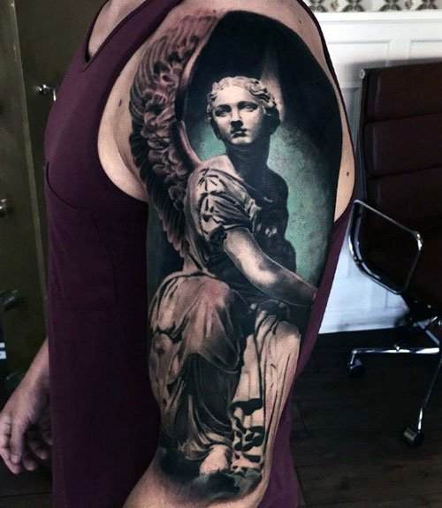 Cool Angel Half Sleeve Tattoo Designs