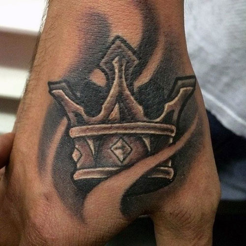 Cool Crown Tattoo on Hand